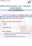 Oferta educativa Aula de Adultos de Membrilla, Curso 2020-2021