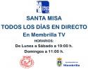 Santa Misa en directo todos los días en Membrilla TV.